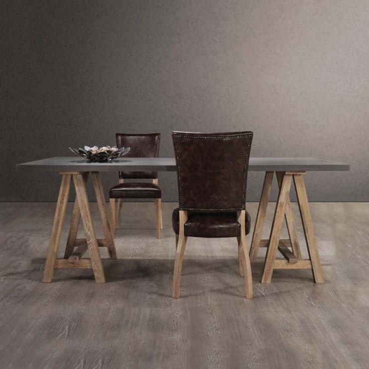 Τραπέζι κουζίνας PRINCE ξύλινο σε χρώμα antique oak-white wash E7759