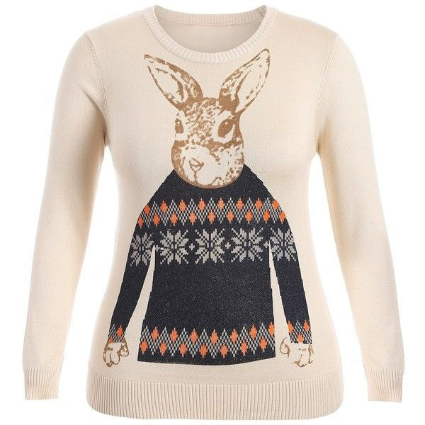 Apricot 5xl Rabbit Print Plus Size Sweater ($20) ❤ liked on Polyvore featuring tops, sweaters, bunny sweater, plus size pink sweater, plus size tops, pink top and pink sweater
