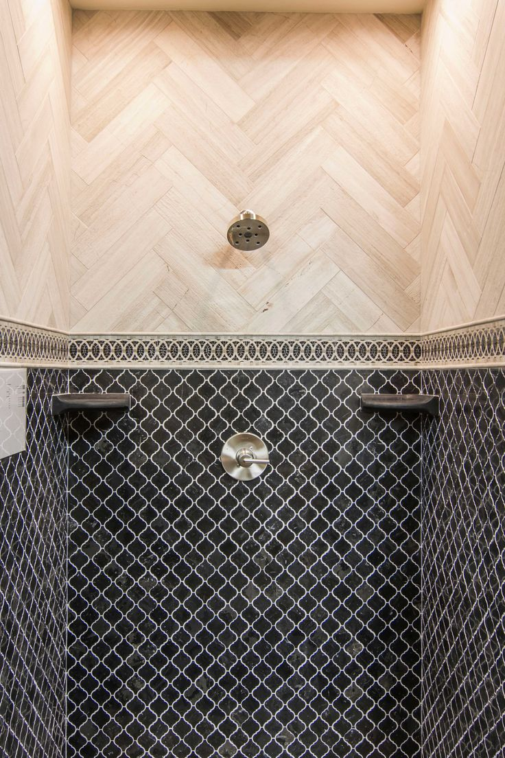 Dark Grey Bathroom Shower Tile Noir Polished Arabesque