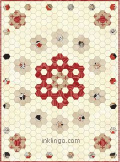Circle of Flowers is one of the patterns in the Inklingo Hexagon Quilt Design Book. It is FREE for a few days in celebration of Hexie Love! 5 fabrics, approximately 42 x 57 inches if you use 1.25 inch hexagons