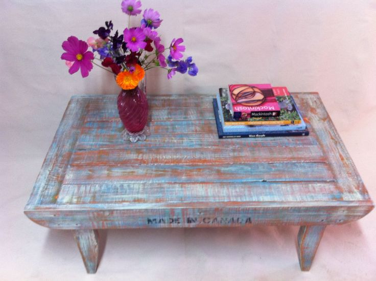 Handcrafted coffee table made from reclaimed wood, painted, distressed and varnished. Upcycled by Calico Studio. Calicostudio12@gmail.com