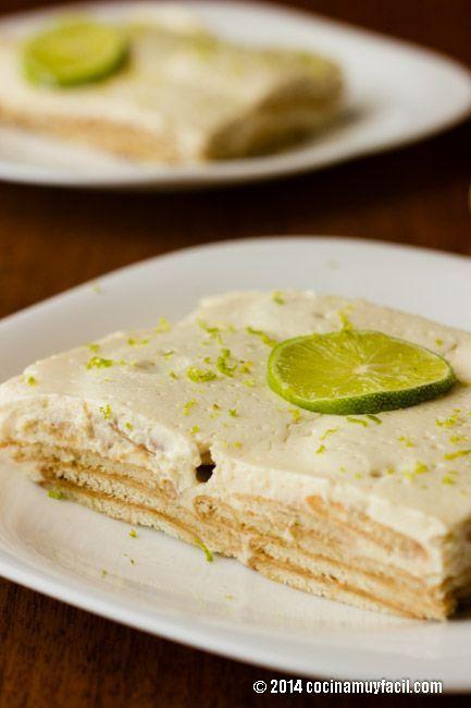 Receta de Pie de Limón Frío con Galletas Marías | Cocina Muy Fácil | http://cocinamuyfacil.com: