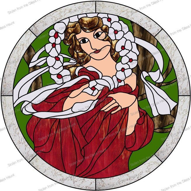 "Alphonse Mucha 12 December 24"" Stained Glass Pattern. Artist Ruth Green."