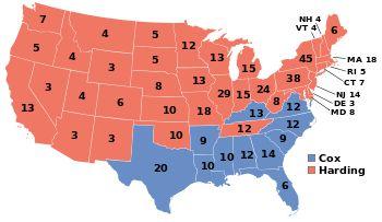 1920, Warren G. Harding (R) - 404 EV / 16,144,093 (60.3%), James M. Cox (D) - 127 EV / 9,139,661 (34.1%) PV
