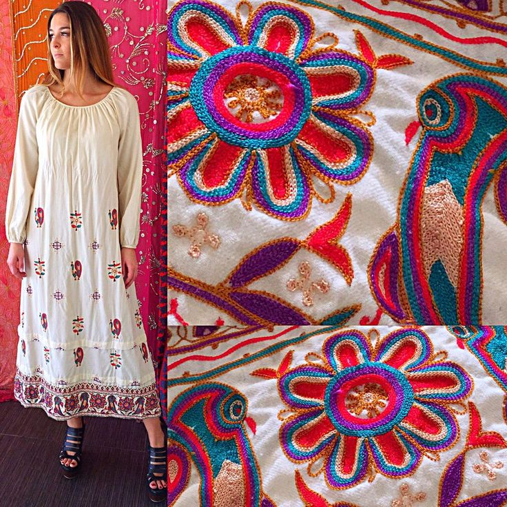 Vintage 70s Treacy Lowe Neiman Marcus India Dress Embroidered Hippie Festival  | eBay
