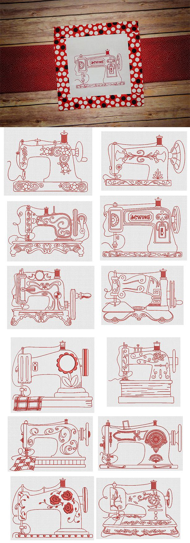 Vintage Sewing Machines Redwork design set is available for instant download at designsbyjuju.com