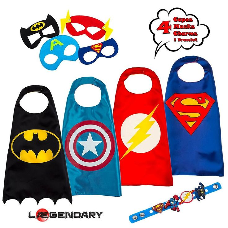 Superhero Costumes for Kids Set of 4 Spiderman Batman Capes Mask Boys Xmas Gift