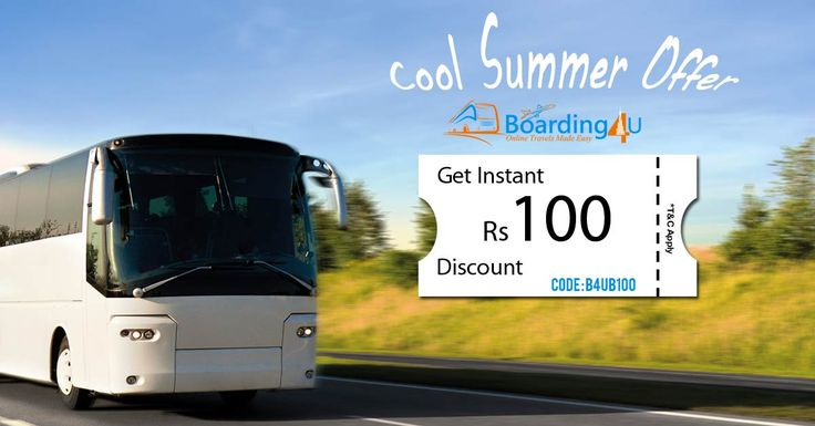 Enjoy this summer with cool offers,get flat Rs.100 Off on bus tickets.No min ticket price.Hurry before it ends. #busoffers #offersonflight #flightoffers #cheaflights https://www.boarding4u.com/