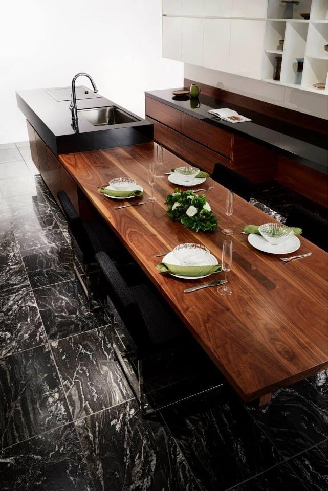 オーダーキッチン/ダイニングテーブル一体型/ストレートダイニング/木目/御影石