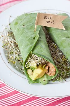 Raw Wraps with sprouts, avocado spread. No bean hummus!
