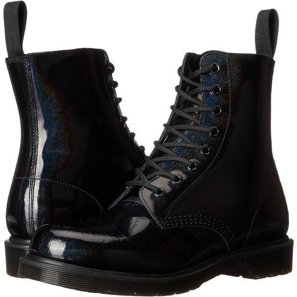 Dr. Martens Pascal 8-Eye Boot (Black Petrol) Women's Lace-up Boots ($96) ❤ liked on Polyvore featuring shoes, boots, ankle boots, black, leather ankle boots, bootie boots, low black boots, black boots and short boots