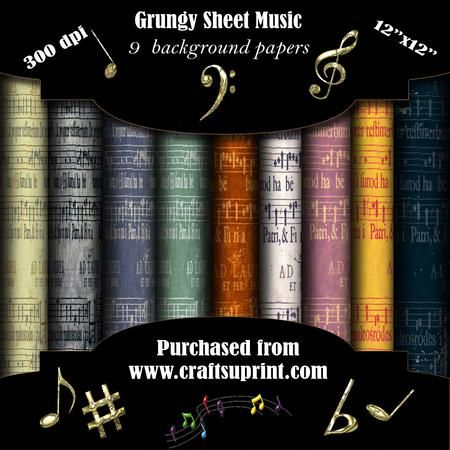 Grungy Sheet Music on Craftsuprint - Add To Basket!