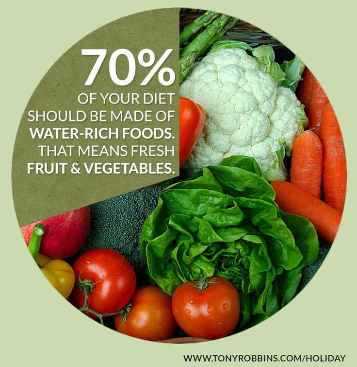 Eighty percent of your body is made up of water. What do you think a large percentage of your diet should contain? You need to make certain that 70 percent of your diet is made up of foods that are rich in water. That means fresh fruits or vegetables, or their juices freshly squeezed.