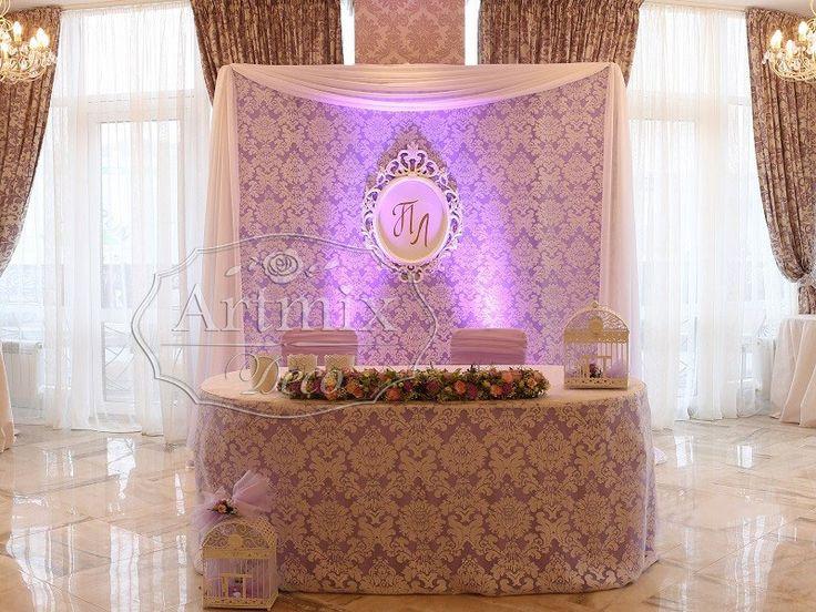 Свадебное оформление президиума во французском стиле и украшение стола жениха и невесты в ресторане Ля Мур (кружевная свадьба)