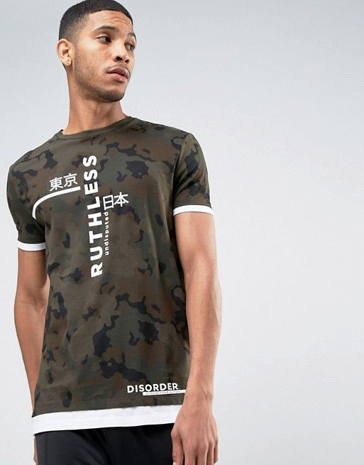 Longline T-Shirt In Camo With Japanese Text And Hem Extender