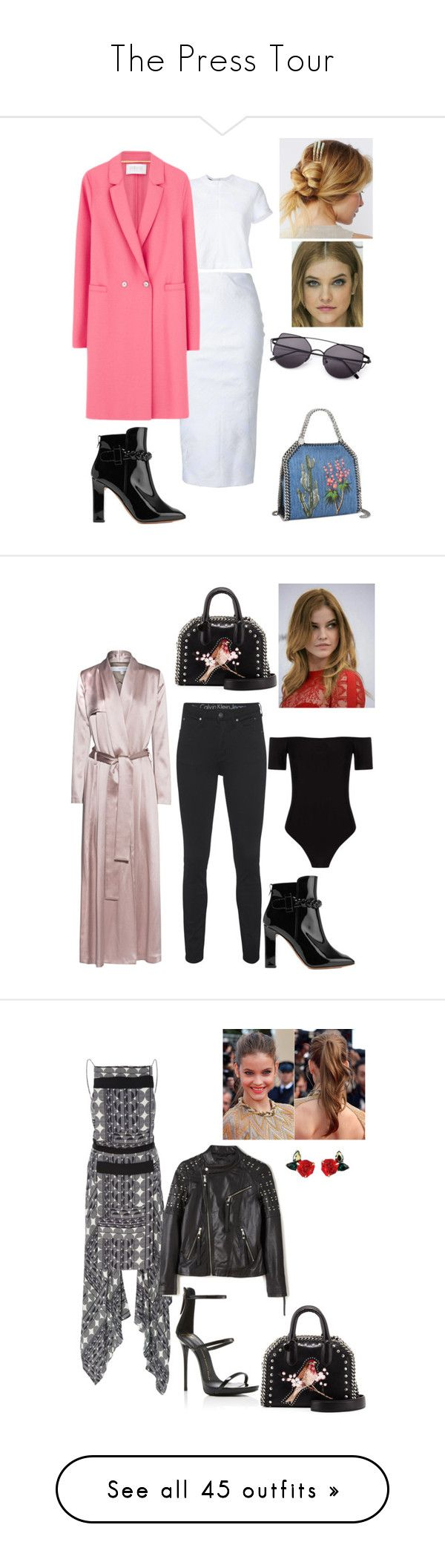 """""""The Press Tour"""" by tynabrookler ❤ liked on Polyvore featuring airport, premiere, Pressconference, ThePressTour, Valentino, Free People, Alex Perry, Harris Wharf London, STELLA McCARTNEY and Calvin Klein Jeans"""