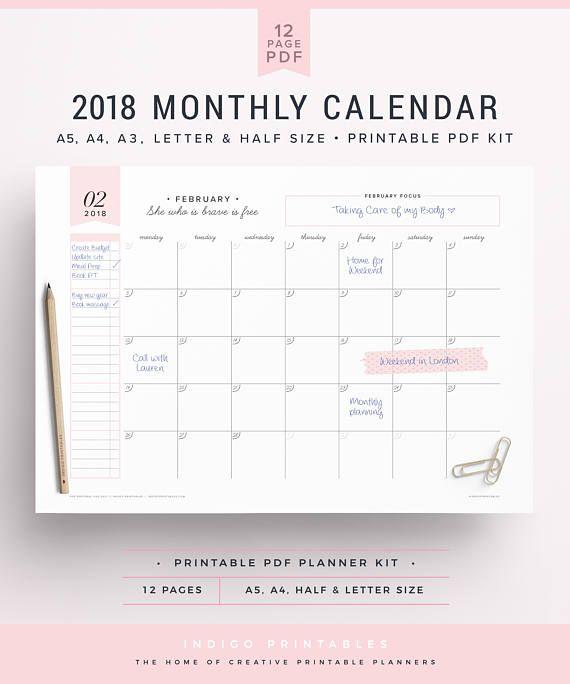 2018 wall calendar 2018 monthly agenda 2018 monthly calendar 2018 calendar 2018 monthly planner a3 calendar wall planner 2018