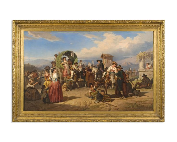Robert Alexander Hillingford (London 1828-1904) A rural fair Oil on canvas  Signed and dated 'R. Hillingford/Rome 1860'.