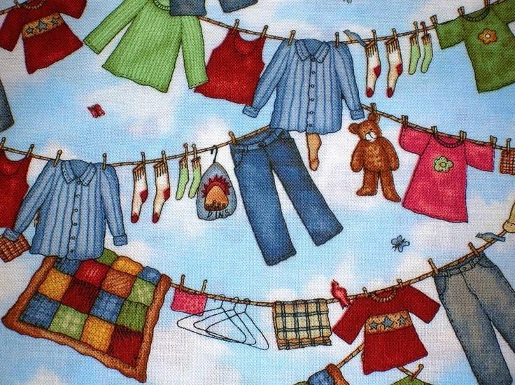 Lovely Laundry Room Fabric Part - 4: New Laundry Day 1 Yard Fabric Clothsline Laundry Room Wash