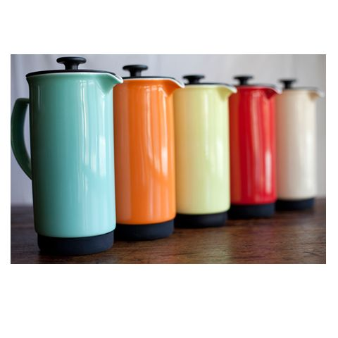 cafe style ceramic french press turquoise orange yellow red off white cream coffee
