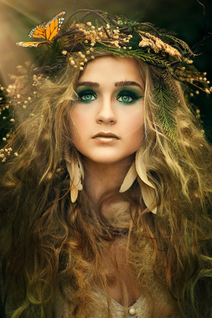 Ethereal, fantasy type Halloween makeup. Kind of a cool elf, druid look.