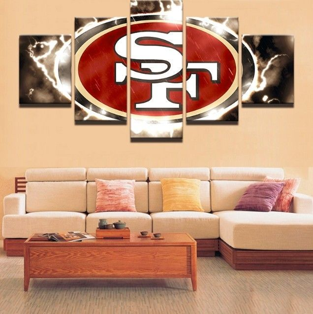 Framed 5pcs san francisco sf 49ers nfl canvas print painting wall art home decor