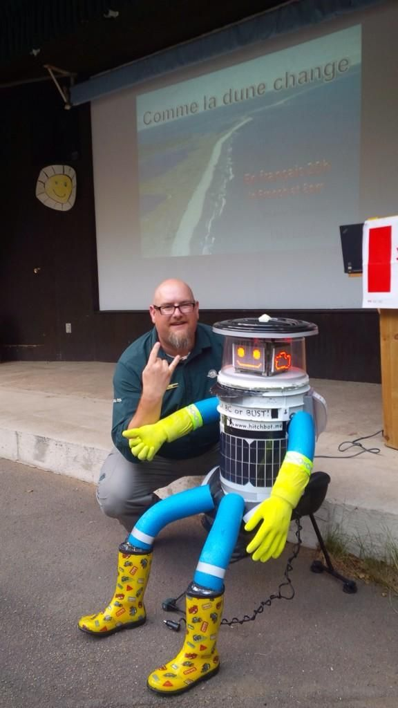 Retweeted by hitchBOT | Kouchibouguac NP @KouchibouguacNP • July 28 • We had a special guest camping with us last night: @hitchBOT , the hitch hiking robot! #NBSummer !