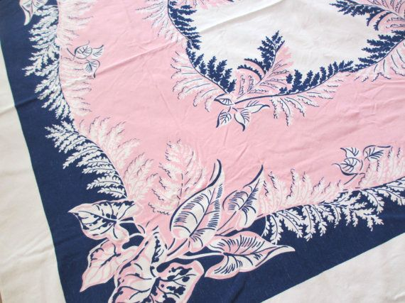 Pink on blue. Vtg midcentury tablecloth / cotton / striking design pink blue art deco / botanical / tropical /  46 x 52 inch