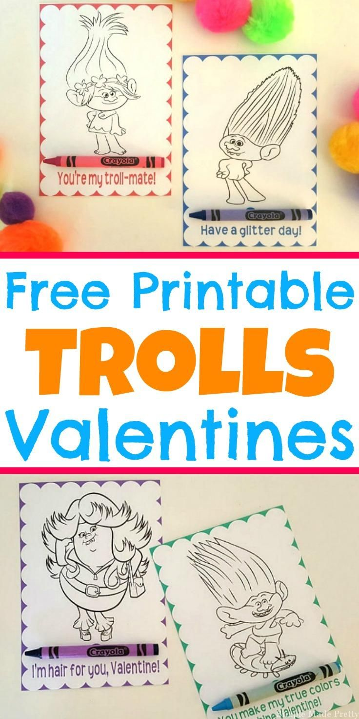 Valentine bookmark to color - Free Printable Trolls Movie Valentine Coloring Cards
