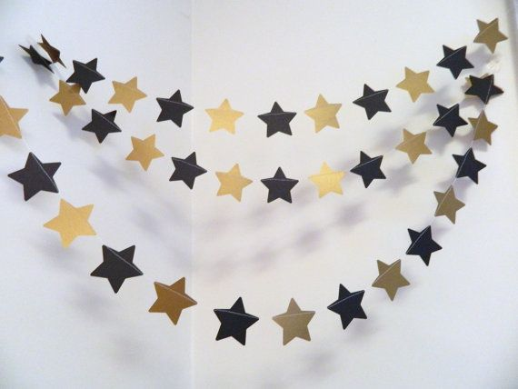 Perfect for an Anniversary Party - Star Wars Themed Birthday -Graduation or New Years Eve!! And so many colors available you can use these star garlands for any occasion!!   This 10ft paper star wedding garland is made with 3 inch hand punched metallic gold and black card stock stars all machine sewn together in a continuous straight line. When you purchase this listing you will receive 10 feet of the stars in your color choices. Each end will have a bit of excess thread to hang your garland…