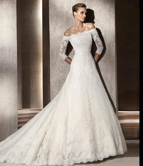 2012 A-line strapless train beaded lace satin white wedding dresses DWB895404