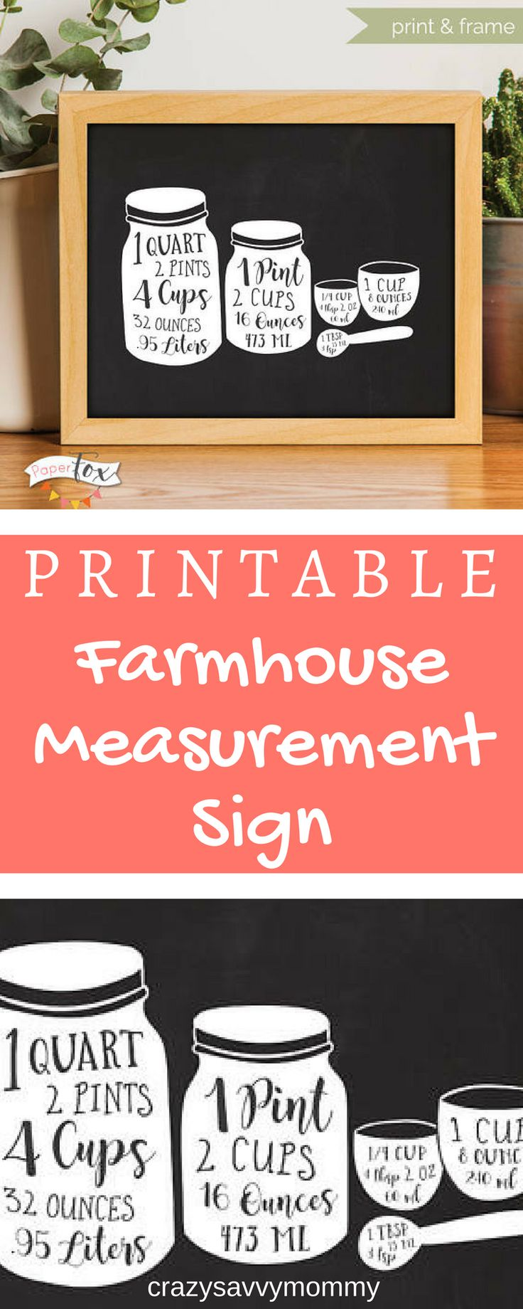 Only 1 99 Printable Farmhouse Measurement Sign Cute
