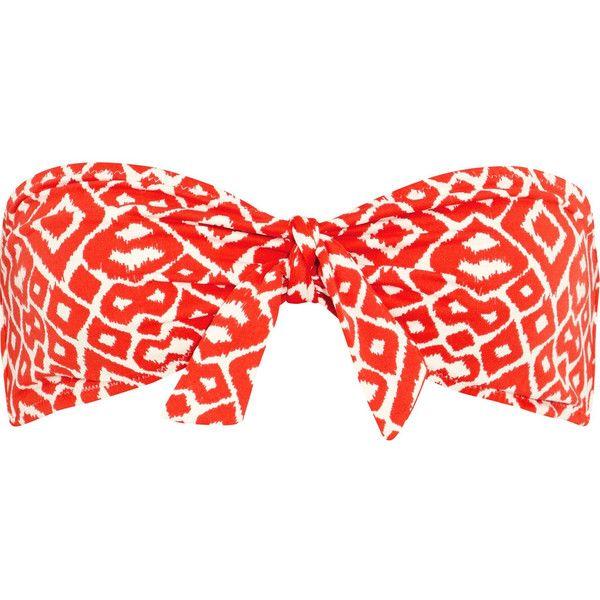 Eberjey Love Francine printed bandeau bikini top ($56) via Polyvore featuring swimwear, bikinis, bikini tops, red, swim tops, red bandeau bikini top, neck ties, bandeau top bikini and bandeau bikini tops