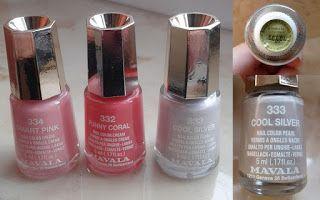 MAVALA – lakiery do paznokci 334 Smart Pink, 333 Cool Silver, 332 Funny Coral. ~ Lepsza wersja samej siebie