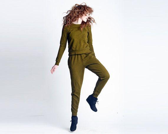 Flaco suda corredores ajuste sueltos | Chándal verde ejército | Sudores de Harem | Cintura alta pantalón pantalones prendas | VENTA XS, S