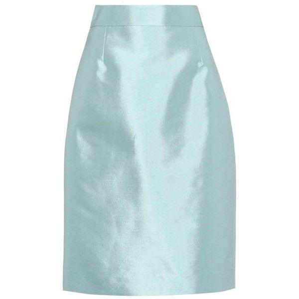 Prada Wool and Silk Skirt ($1,090) ❤ liked on Polyvore featuring skirts, blue, wool skirt, prada, blue skirts, woolen skirt and silk skirts