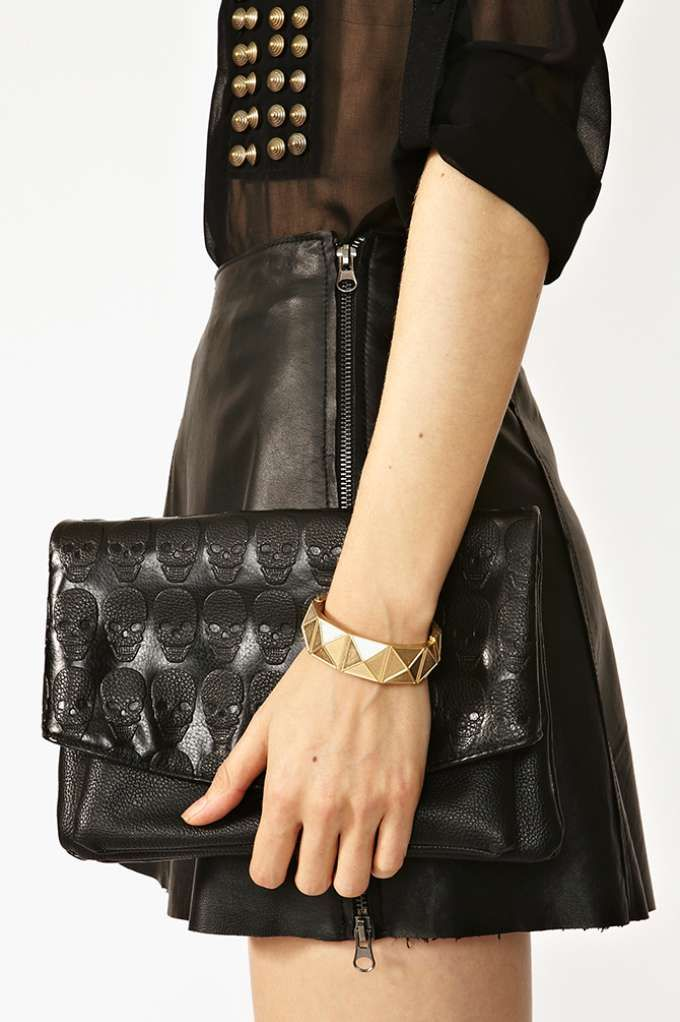 VIDA Leather Statement Clutch - Eyes That Pierce The Soul by VIDA