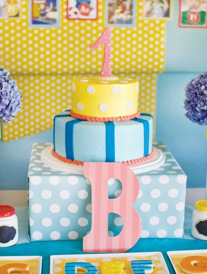 Darling Cake from this Silhouette ABC Themed 1st Birthday Party with Lots of Really Cute Ideas via Kara's Party Ideas | KarasPartyIdeas.com #ABCParty #silhouettepa...