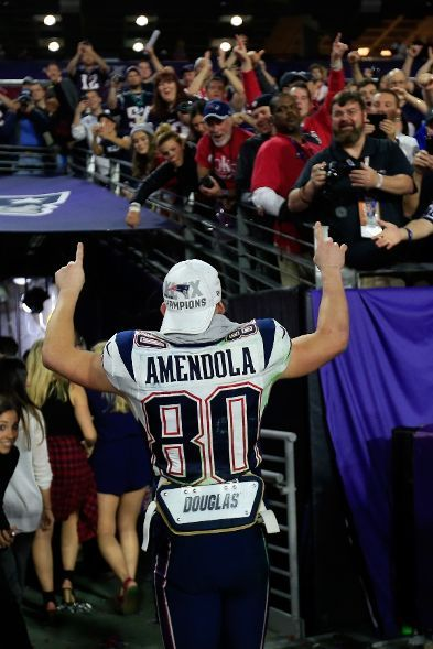 New England Patriots vs. Seattle Seahawks - Danny Amendola #80 of the New England Patriots celebrates after defeating the Seattle Seahawks during Super Bowl XLIX at University of Phoenix Stadium on February 1, 2015 in Glendale, Arizona. The Patriots defeated the Seahawks 28-24. (Photo by Rob Carr/Getty Images)
