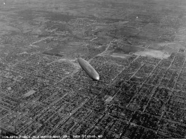 1920's Zeppelin flies over North St. Louis.