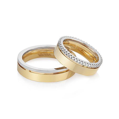 Par de aliança em ouro amarelo 18k, ouro branco 18k e 31,2 pts de diamantes - VIVARA