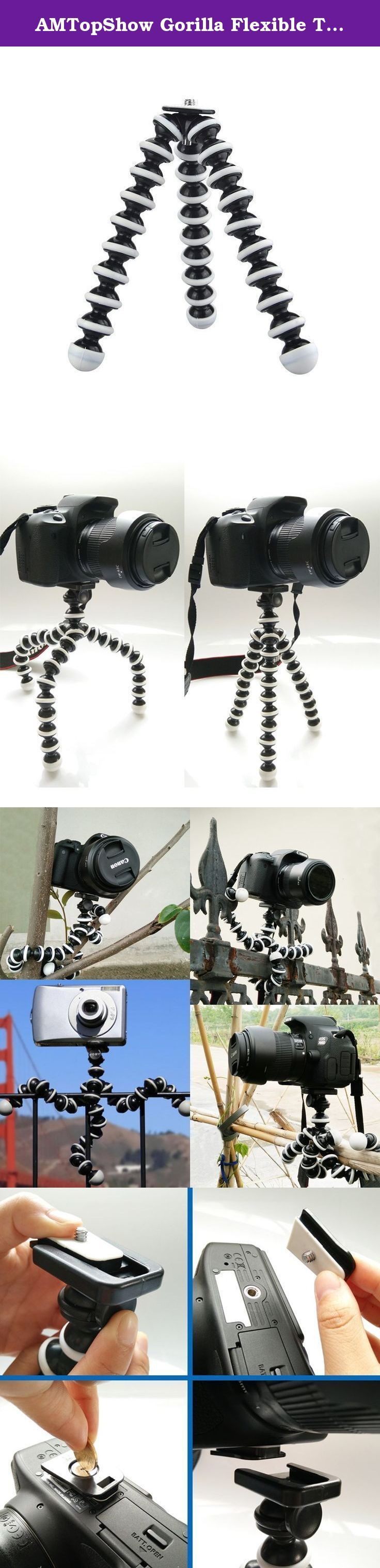 AMTopShow Gorilla Flexible Tripod,SLR Zoom Tripod for DSLR Cameras Perfect for Telephoto Lenses Lightweight, for Digital Cameras, Smartphones, Video Recorders travel compact,Portable and Flexible. A great mini Octopus tripod Bundle. The tripod can be used to hold your Camera or by attaching the included holder your iPhone, Android or Smartphone. Features: Ultra Flexible Will grip to almost anything Made from hard wearing plastic with metal adapter Each leg has 9 balls and sockets for a…