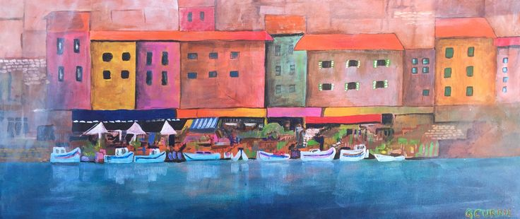 "This is an Acrylic Painting that I created with a focus on an Italian Village on the sea with fishing boats and old buildings. This original painting is 14"" x 30"". $390 CDN"