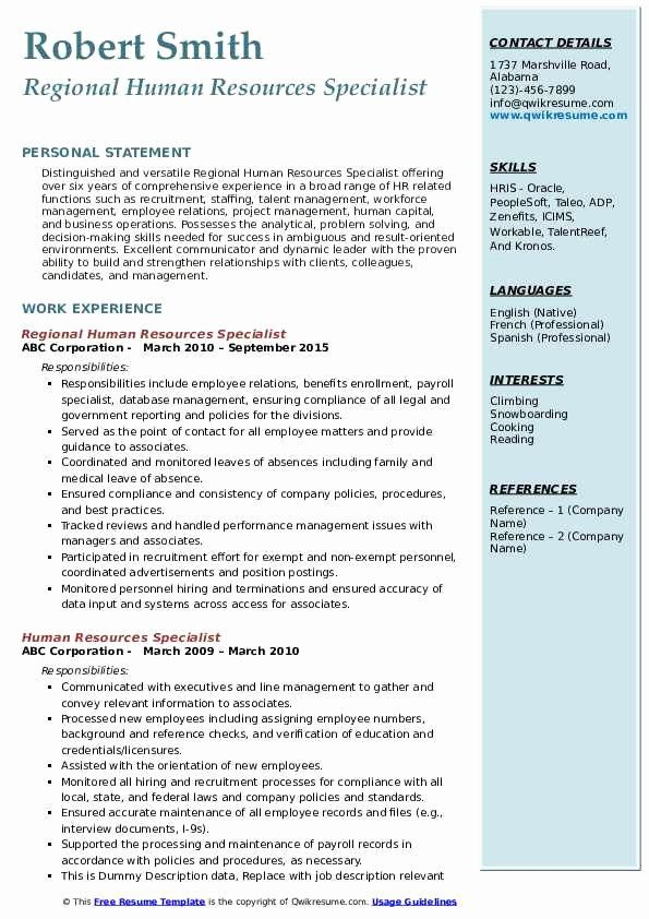 Human Resource Specialist Resume Fresh Human Resources Specialist Resume Samples In 2020 Medical Assistant Resume Job Resume Samples Human Resources