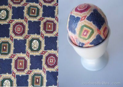 Dying eggs with thrift store silk ties. cool!