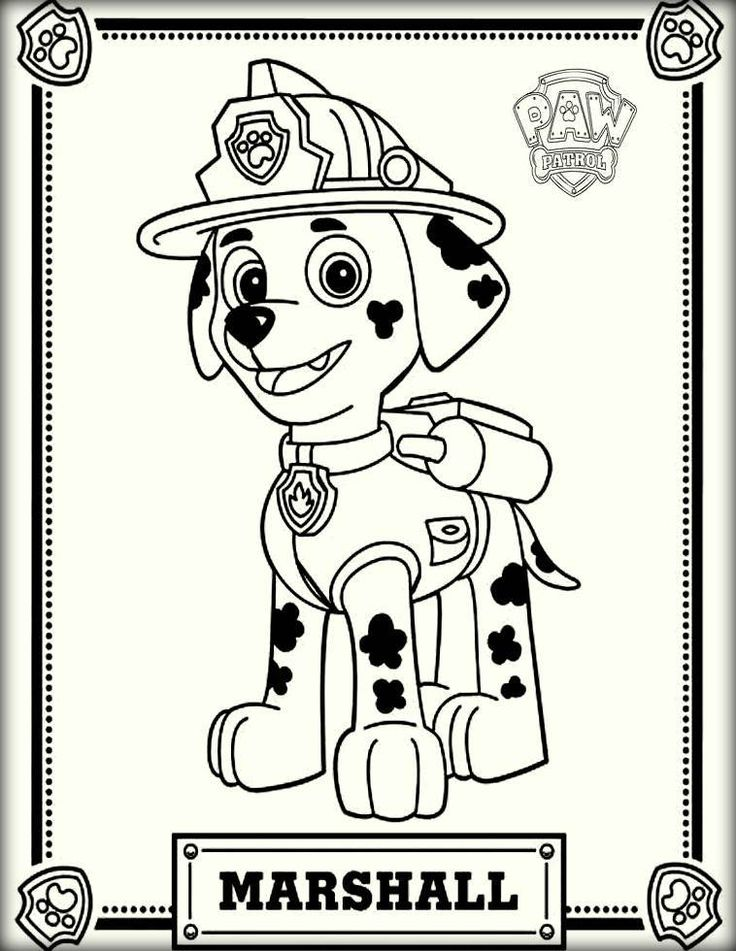 Marshall Paw Patrol Color Pictures Paw Patrol Coloring