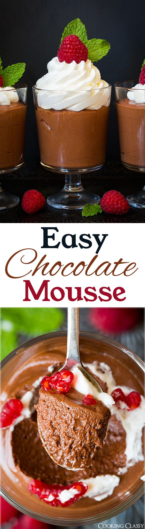 Easy Chocolate Mousse - so easy to make and tastes PERFECT! No raw eggs in this recipe! Uses marshmallows instead. And no waiting for hours for it to set.
