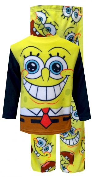 Nickelodeon SpongeBob Big Grin Fleece Pajamas  Could he be any happier? A grinning SpongeBob is all the focus on these flame resistant pajamas for boys. In classic SpongeBob colors, the top features a giant SB head and smile, while the pants have an all over pattern of various happy SpongeBob faces. Made of super soft 100% polyester fleece, they are machine wash and easy care. $20