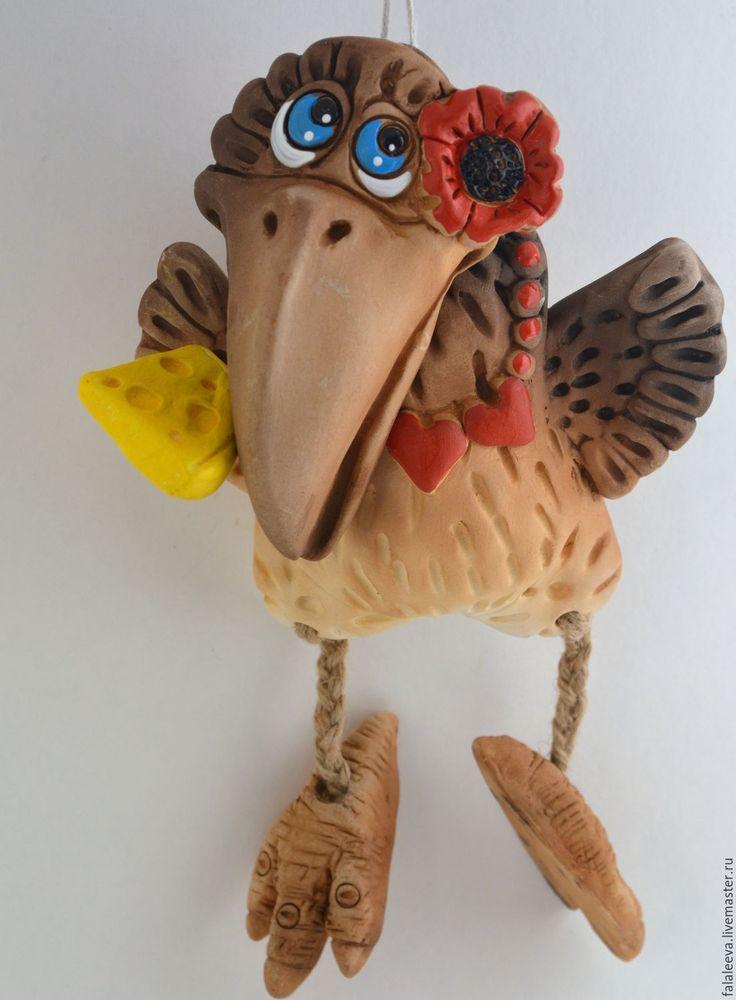 """Купить Панно настенное """"Карлуша"""" - разноцветный, Керамика, ворона, птица, птичка, панно, панно на стену"""