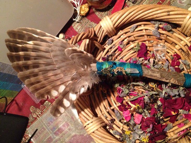 Owl feather smudge fan with angel aura quartz